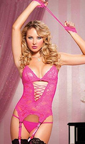 Healthy Care alta qualità da donna, Sexy Lingerie corde Teddy-Tagliacavi Wear-Tutina body intimo un paio di calze, colore: rosa
