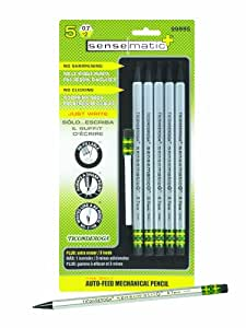 Dixon Ticonderoga SenseMatic Plus Auto-Feed Mechanical Pencils, #2 HB, 0.7 mm Leads, 5-Pack (99995)