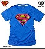 (シロイネコ)SHIROINEKO 「ミニットマース」×「スーパーマン」 アメコミプリントコラボTシャツ (SPMマーク)プリントTシャツ スカイブルー M