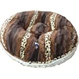 BESSIE AND BARNIE 24-Inch Bagel Bed For Pets, X-Small, Natural Beauty/Wild Kingdom