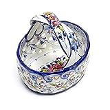 ポルトガル製 陶器製 花柄 手描き 楕円 オーバル バスケット アズレージョ柄 高さ14cm pfa-333y