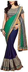 Lizel Fashion Women's Georgette Saree (Amaira Blue, Green)