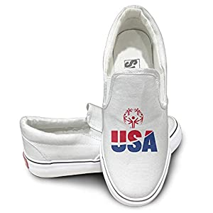 Nice Canvas Sneakers Special Olympics USA Canvas Board Shoes For Men, Women And Teens White US Size 44