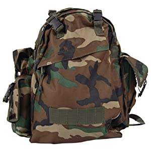 US Army Waterproof Rucksack Camping 40L Woodland Camo from MFH