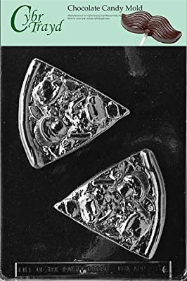 Cybrtrayd K086 Pizza Slice Chocolate Candy Mold with Exclusive Cybrtrayd Copyrighted Chocolate Molding Instructions
