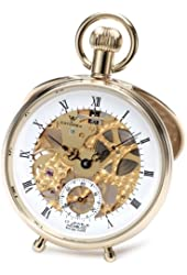 Catorex Men's 180.6.1651.110 Les Breuleux 18k Gold Plated Brass Skeletal Dial Pocket Watch
