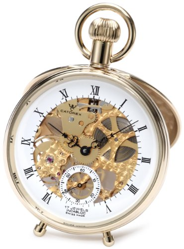 Catorex Men's 180.6.1651.110 Les Breuleux 18k Gold Plated Brass Skeletal Dial Pocket Watch