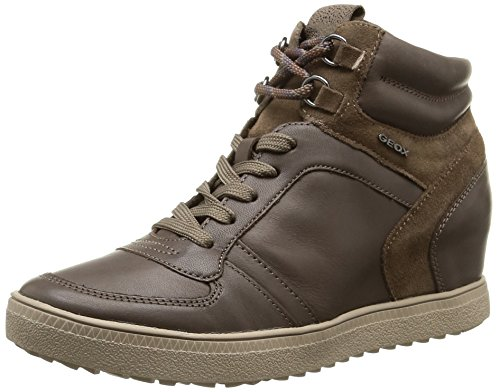 Geox D Amaranth High D, Sneaker, Donna, Marrone (Dove Grey), 37