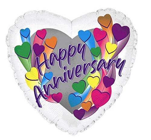 "Creative Converting CTI Mylar Balloons, Anniversary Hearts, 17"", Multicolored"