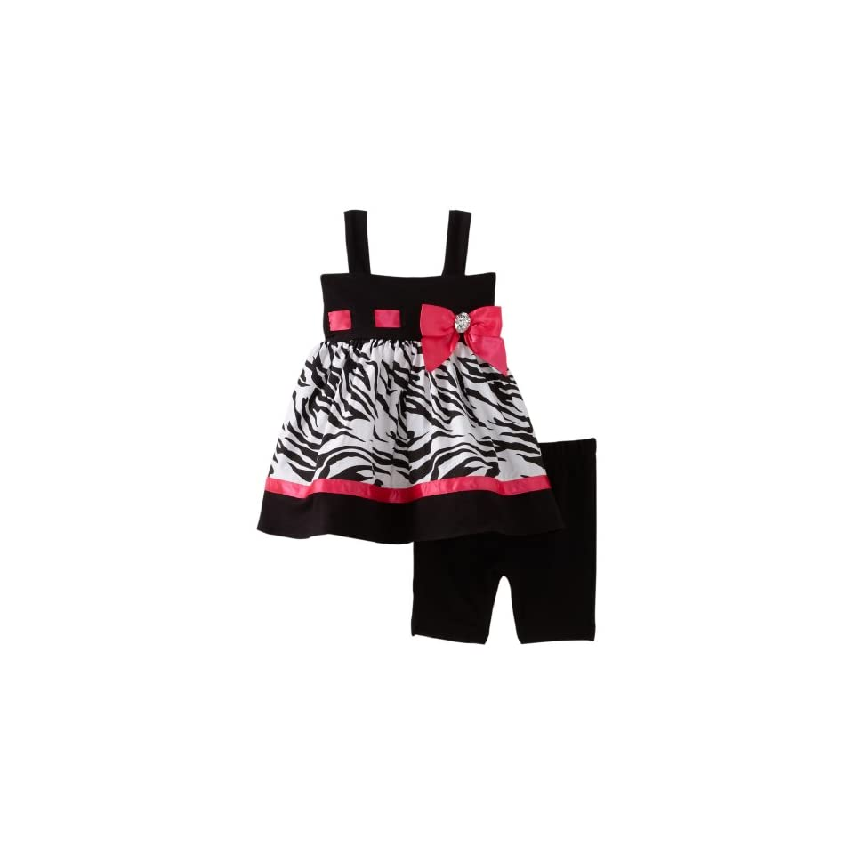 Sweet Heart Rose Baby Girls Zebra Bike Short Set, Black/White/Pink, 24 Months