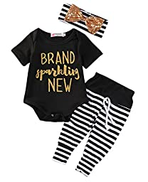 Baby Boy Black Romper Bodysuit Letter Print Girls Striped Pants Outfits Clothes Suit (3~6months)