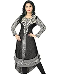 Lakshminarayan Creatin's Womens Embroidered Georgette Black And Cream Kurti Without Leggings