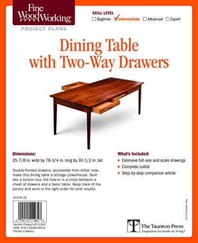 Fine Woodworking's Dining Table with Two-Way Drawers Plan PDF