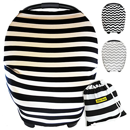 Baby Car Seat Cover Canopy | Stretchy Breastfeeding Cover | Multi-Use all in 1 Infinity Nursing Scarf | Grocery Shopping Cart Covers | (Black&White Stripes) Best Unisex Baby Shower Gift (Green Infant Car Seat Covers compare prices)
