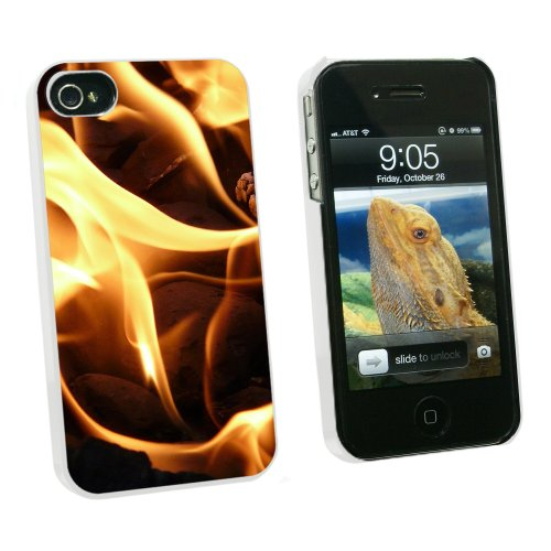 Graphics And More BBQ Barbecue Charcoals Coals Fire Flame - Snap On Hard Protective Case For Apple Iphone 4 4S - White - Carrying Case - Non-Retail Packaging - White