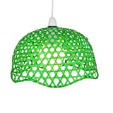 Lighting Web Company Scalloped Dome Shade in Lacquered Bamboo, Green