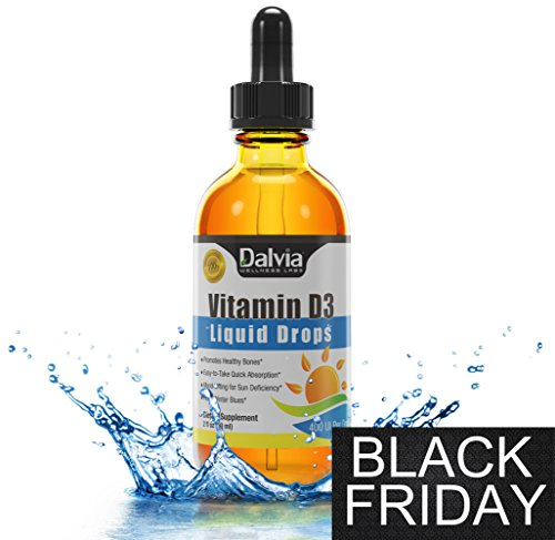 Vitamin D-3 Liquid Drops ★ Easy-To-Take Drops ★ - ★ (Black Friday Special Low Price!) ★Best Absorption For Healthy Bones, Immune System And Vitamin D Deficiency - Perfect For Adults And Children During The Colder Months. 2Oz 60Ml Liquid D3 With Easy-To-Us