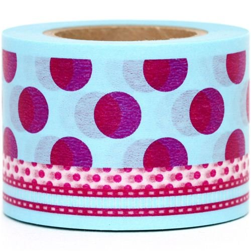 wide Washi Masking Tape deco tape with pink polka dots