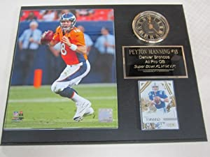 Peyton Manning Denver Broncos Collectors Clock Plaque w 8x10 Photo and Card by J & C Baseball Clubhouse