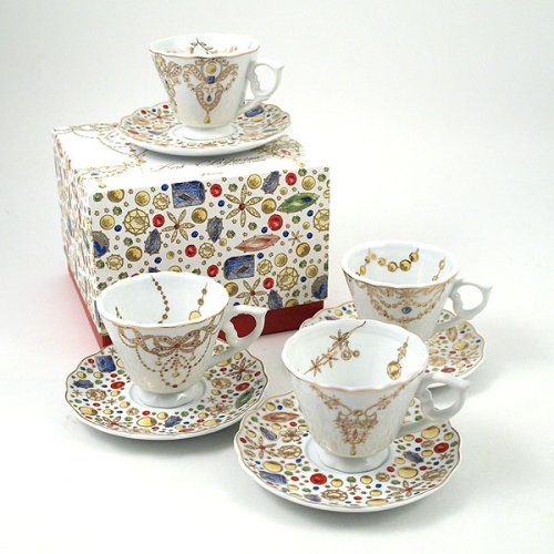 Buy Les Bijoux Dessert Plates & Tea Service – Teacup & Saucer (set of 4)