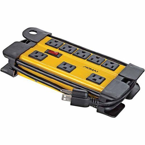 Noma 8-Outlet Power Strip, Heavy-Duty Contractor Grade with 6-Feet Cord