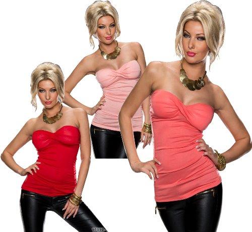 5799 Fashion4Young Damen Sexy Bandeau-Top in figurbetonter Schnittform verfügbar in 3 Farben