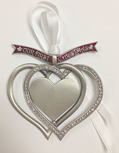 Our First Christmas Engravable Interlocking Hearts Ornament with Austrian Crystals 3.25