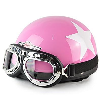 Rexul(TM)New Hot Women Motorcycle Half Face Motorbike Helmet/Motorcycle Racing Helmet & Vintage Style Goggles Helmet from Rexul