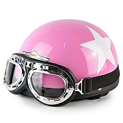 CitiPod(TM)New Hot Women Motorcycle Half Face Motorbike Helmet/Motorcycle Racing Helmet & Vintage Style Goggles Helmet by CitiPod
