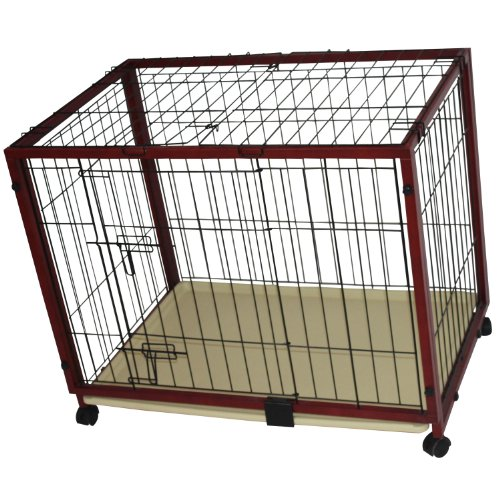 "Pawhut 47"" X 24"" X 28"" Portable Wood Pet Dog Crate W/ Wheels front-903570"