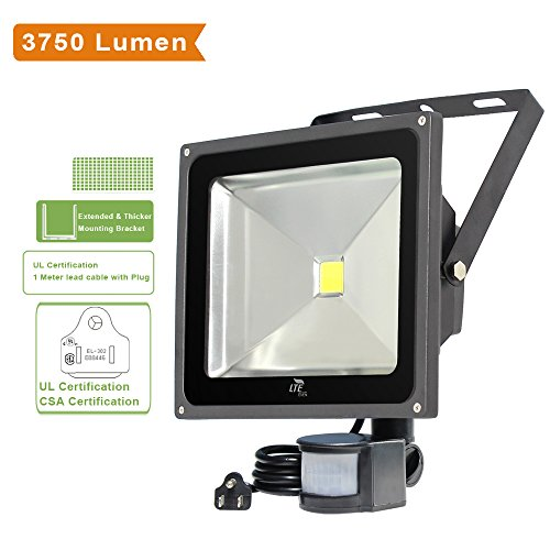 LTE Super bright 50W Motion Sensor Lights,Outdoor LED Flood Lights, 3750 Lumen, 150W HPS Bulb Equivalent, Daylight White, Waterproof , Security Light, PIR Floodlight. (Outdoor Floodlight Sensor compare prices)