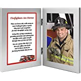 Firefighter Gift Frame - Honor Your Favorite Fireman - Hero Poem in a Double Silver Frame
