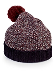 Turn Up Brim Knitted Bobble Hat with Wool