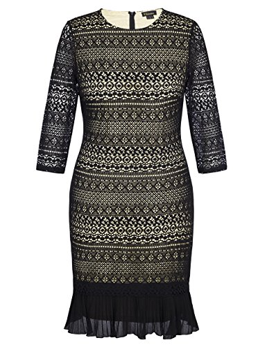 Chicwe Women's Plus Size Lace Dress with Contrast Lining and Pleated Hem 26, Black (Plus Size Stores)