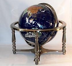 "21"" Blue Lapis Ocean Gemstone Globe with 4-Leg Silver Stand"