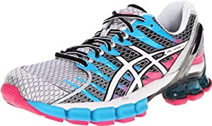 ASICS Women's GEL-Kinsei 4 Running Shoe,White/Snow/Pink,9.5 M US