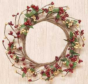 Burgundy & Old Gold Pip Berry Ring Mini Wreath Country Primitive Floral Décor
