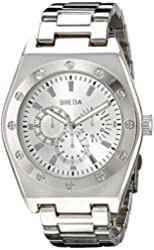 Breda Men's 8149-Silver-Tone Logan Thick Bold Bezel Metal Watch