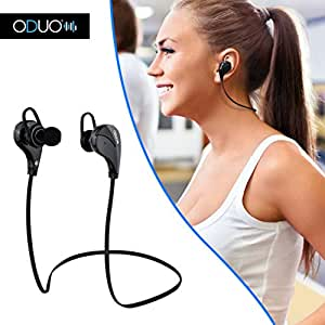 Oduo FlexOne Wireless Bluetooth Earphones. Wall Charger and Carrying Case Included