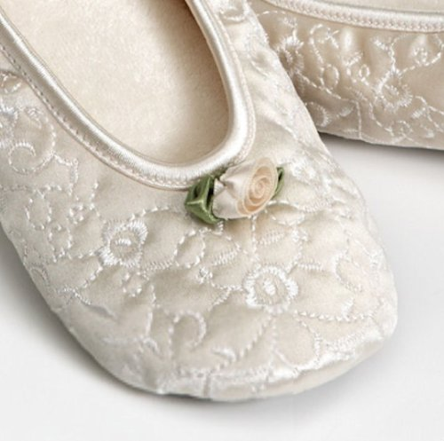 Cheap Embroidered Rose Applique Ballet Slippers in White or Ivory (B004YWWMNI)