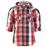New Mens Tokyo Laundry Checked Casual Hooded Roll Sleeve Shirt Top Size S-3XL