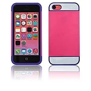 For iPhone 5C Case YCAun® TPU inner+Plastic 2 in 1 Lovely Cute Cover Hybrid Defender Shockproof Impact Armor Skin Slim Fit Thin Dual-Layer Protective Shell [hot pink-purple]