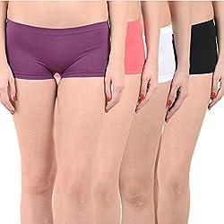 Mynte Women's Sports Shorts (MEWIWCMBP-SHR-103-102-101-100, Purple, Pink, White, Black, , Free Size, Pack of 4)