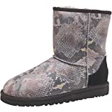 Kids Black-Grey-Stone Ugg Junior Girls Classic Short Snake Boots Black