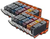 The Ink Squid 12 Compatible Pgi-520 And Cli-521 Bk/C/M/Y/Gy Ink Cartridges (Inc Grey) For Canon Pixma Mp980 Mp990 And Mx860 Printer Models