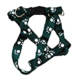 Iconic Pet Paw Print Adjustable Harness, Small, Green