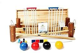 Wood Mallets Premium Garden Croquet Set, 4-Player