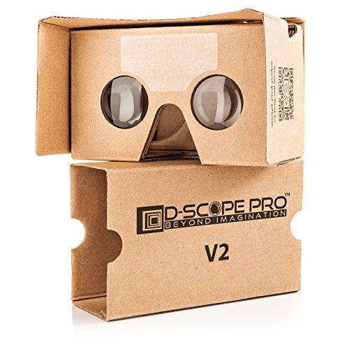 """Google Cardboard V2 D-scope Protrade; 3D realtà; virtuale compatibile con Android & Apple fino a 6"""", facile configurazione, struttura con qualità; di taglio di macchina lenti 37 mm esperienza visiva HD con codici QR"""