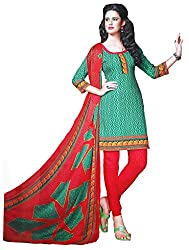 LolyDoll Women's Synthetic Unstitched Dress Material DM5_Green