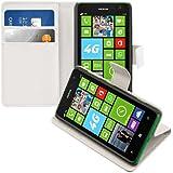 kwmobile Housse en cuir synthétique élégante pour Nokia Lumia 625 avec fermeture aimantée et fonction support en Blanc